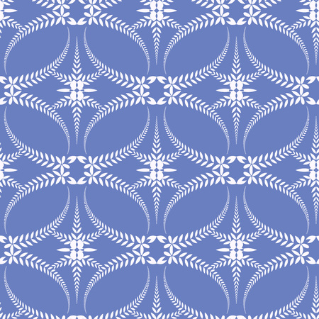 ceremonial: Seamless laurel wreath pattern. Spiral, swirl, solemn, ceremonial stylized ornament with cross. Vintage, curled, lace view texture. Winter theme. White figure on cold, blue background. Vector illustration