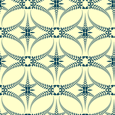 solemn: Seamless laurel wreath pattern. Swirl ornament with cross on light background. Vintage lace texture. Ceremonial, solemn, mourning, religion theme. Yellow, blue colored. Vector