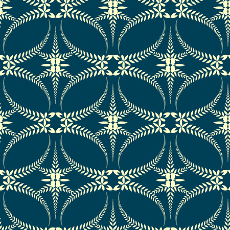 solemn: Seamless laurel wreath pattern. Swirl ornament with cross on dark background. Vintage lace texture. Ceremonial, solemn, mourning, religion theme. Blue, yellow colored. Vector