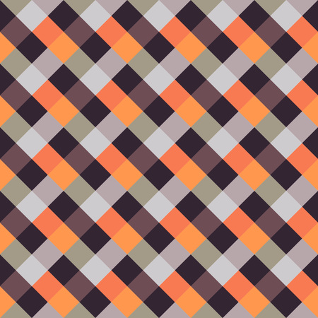 brindled: Seamless geometric checked pattern. Diagonal square, woven line background. Patchwork, rhombus, staggered texture. Brown, orange, beige colors. Vector Illustration