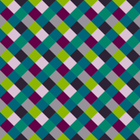 braiding: Seamless geometric checked pattern. Diagonal square, braiding, woven line background. Patchwork, rhombus, staggered texture. Green, gray, vinous colors. Winter theme. Vector