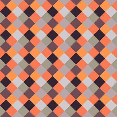 spliced: Seamless geometric checked pattern. Diagonal square, woven line background. Patchwork, rhombus, staggered texture. Brown, orange, beige colors. Vector Illustration