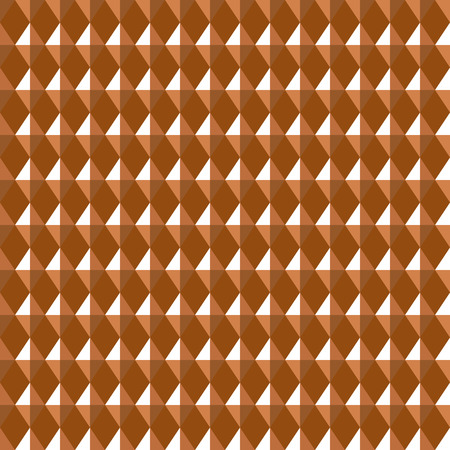 cf: Seamless geometric pattern. Carbon texture. Rhombus convex shine light figures on orange, brown background. Chocolate, coffee, honey theme. Copper colored. Vector
