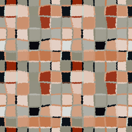 spliced: Seamless geometric mosaic checked pattern. Background rectangles and squares. Patchwork, ceramic texture. Gray, orange, black colors. Winte theme. Vector
