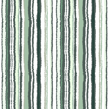 narrow: Seamless striped pattern. Vertical narrow lines. Torn paper, shred edge texture. Green, white, olive contrast colored background. Vector