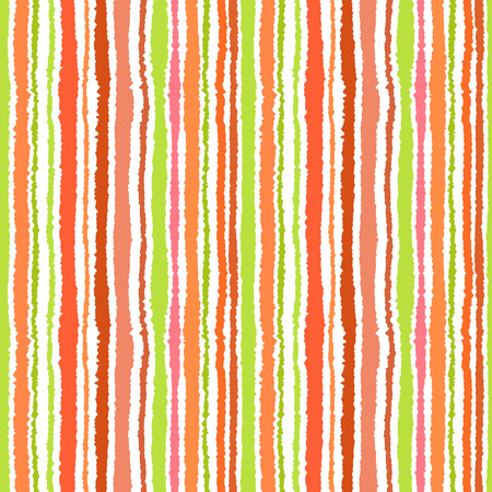 Seamless strip pattern. Vertical lines with torn paper effect. Shred edge background. Summer, warm, green, olive, orange, red, white, tropical colors. Vector illustration Illustration