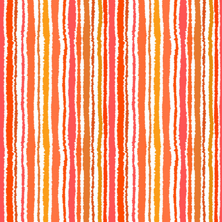 Seamless strip pattern. Vertical lines with torn paper effect. Shred edge background. Summer, warm, yellow, orange, red, tropical colors. Vector illustration