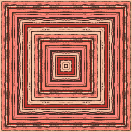 Seamless strip ethnic ornamental pattern. Rectangle, square lines with torn paper effect. Shred edge background. Brown, brick red, vinous, rose, pastel colors. Vector illustration