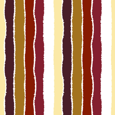 wrinkly: Seamless strip pattern. Vertical lines with torn paper effect. Warm bright contrast brown, orange, white colors. Autumn, winter theme. Vector