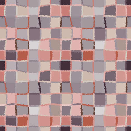brindled: Seamless geometric mosaic checked pattern. Background of woven rectangles and squares. Patchwork, ceramic, tile texture. Soft, pastel, variegated, gray, orange, rose colors. Winter theme. Vector Illustration