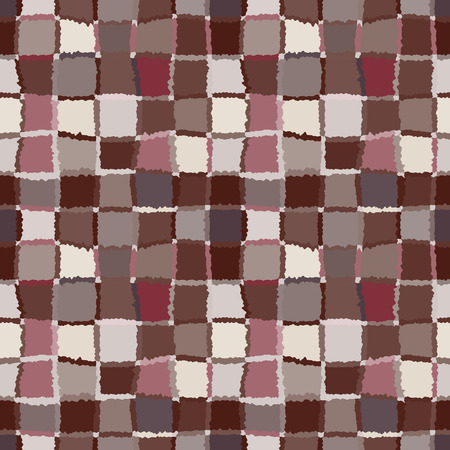 brindled: Seamless geometric mosaic checked pattern. Background of woven rectangles and squares. Patchwork, ceramic, tile texture. Cold, pastel, brown, rose, gray, vinous colors. Winter, autumn theme. Vector