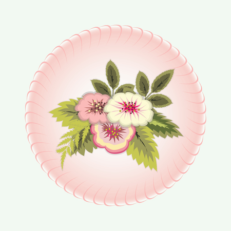 Bouquet of flowers. Vignette. Floral design. Abstract art holiday composition. Isolated bunch on vintage background