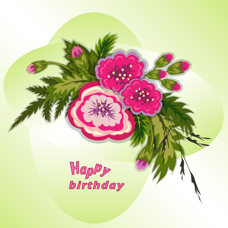 Floral composition. Bouquet of flowers on soft green background. Happy birthday pattern for woman. Greeting card. Vector illustration Vettoriali