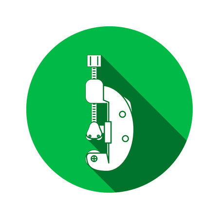 Tool icon. Cutter, clamp. Repair, fix, building connection clip symbol. Round circle sign with long shadow. Flat design. Vector Illustration