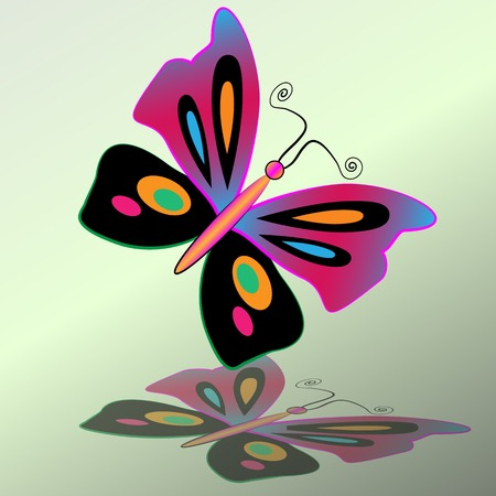 Butterfly icon. Colorful silhouette with shadow. Vector isolated