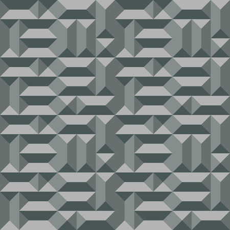 metallic: Seamless geometric architectural pattern. Convex metallic texture with rectangular and square pyramids. Gray colored background. Vector Illustration
