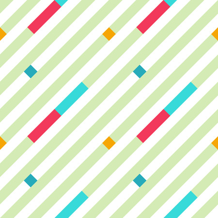 striated: Seamless geometric stripy pattern. Texture of diagonal strips, lines. Bright red, blue rectangles on white background. Baby, children colored. Vector Illustration