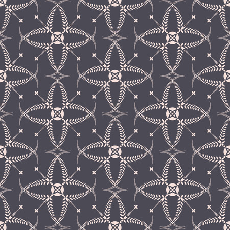 Religion seamless pattern. Laurel wreath, lace view texture with cross. Ceremonial background. Gray, beige colored. Vector Illustration