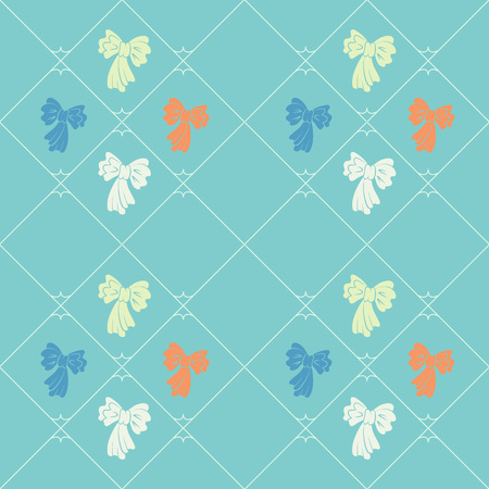 striated: Seamless geometric baby pattern. Texture of diagonal strips, lines, bows. Soft orange, white figures on blue background. Children colored. Vector
