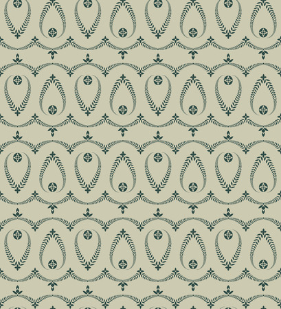 honouring: Religion seamless pattern. Laurel wreath, lace view texture with cross. Ceremonial, funeral background. Swirl stylized ornament. Green, gray colored. Vector