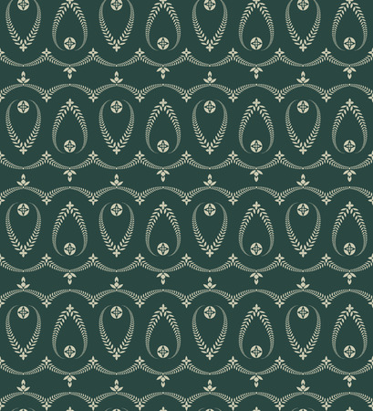 ceremonial: Religion seamless pattern. Laurel wreath, lace view texture with cross. Ceremonial, funeral background. Swirl stylized ornament. Green, gray colored. Vector