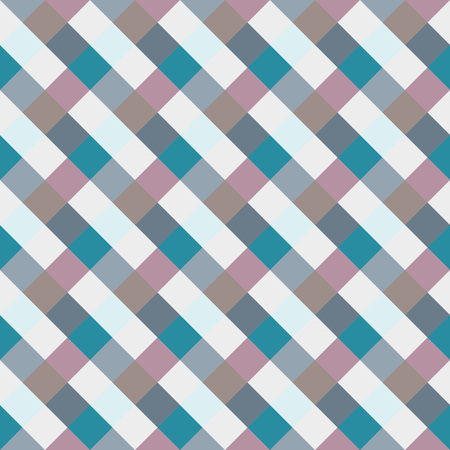 brindled: Seamless geometric checked pattern. Diagonal square, braiding, woven line background. Patchwork, rhombus, staggered texture. Blue, gray, lilac colors. Winter theme. Vector Illustration