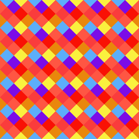Seamless geometric checked pattern. Diagonal square, braiding, woven line background. Patchwork, rhombus, staggered texture. Baby, festival, clown, holiday colors. Vector Illustration