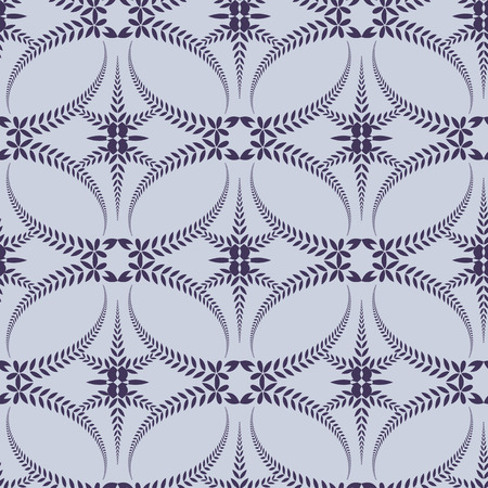 honouring: Religion seamless pattern. Laurel wreath, lace view texture with cross. Ceremonial, funeral background. Swirl stylized ornament. Purple, violet-blue, gray colored. Vector