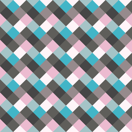 braiding: Seamless geometric checked pattern. Diagonal square, braiding, woven line background. Patchwork, rhombus, staggered texture. Blue, gray, lilac colors. Winter theme. Vector Illustration
