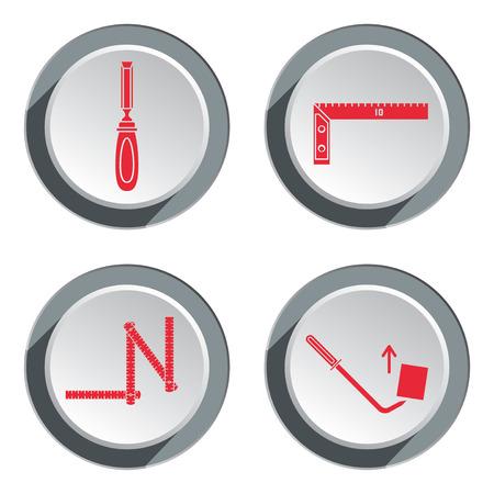 Meetinstrument, zigzag vouwmeter, beitel, hoek, pinchbar pictogram. Repareren, repareren, regelen, meten, gereedschapsymbool bouwen. Ronde cirkel rode en grijze knop met schaduw. Plat ontwerp. Vector