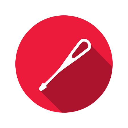 turnscrew: Tool icon. Screwdriver, turnscrew instrument. Industrial, fixing, support hardware service symbol. White sign on round red flat button. Vector