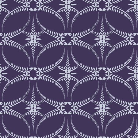 ceremonial: Religion seamless pattern. Laurel wreath, lace view texture with cross. Ceremonial, funeral background. Swirl stylized ornament. Purple, violet-blue, gray colored. Vector