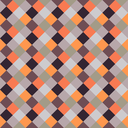 brindled: Seamless geometric checked pattern. Diagonal square, braiding, woven line background. Patchwork, rhombus, staggered texture. Orange, gray, brown colors. Winter theme. Vector Illustration