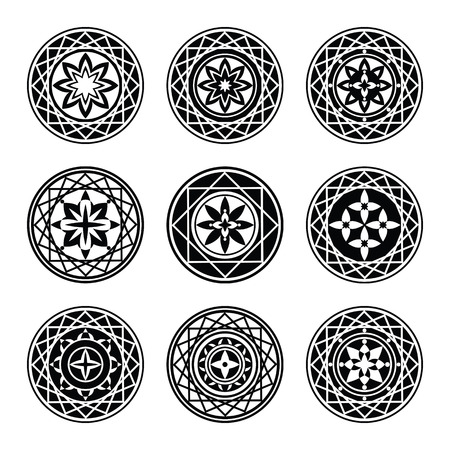 Floral ornament 9 tattoo set. Flowers in star, aster sign of 4 and 8 rays. Black stylized ornaments, signs on white background.  Harmony, defense, luck, infinity symbol. Vector