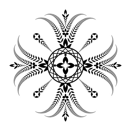 Laurel wreath tattoo. Unusual cross sign ornament. Black icon on white background. Defense, peace, glory symbol. Vector isolated Stock Photo