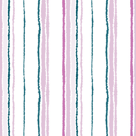 torn edge: Seamless striped pattern. Vertical narrow lines. Torn paper, shred edge texture. Green, white, lilac contrast colored background. Vector