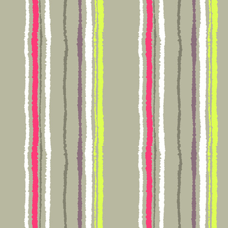 torn edge: Seamless striped pattern. Vertical narrow lines. Torn paper, shred edge texture. Beige, white, red, yellow contrast colored background. Vector