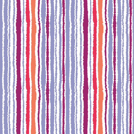 torn edge: Seamless striped pattern. Vertical narrow lines. Torn paper, shred edge texture. Lilac, orange, pink on white colored background. Vector Stock Photo