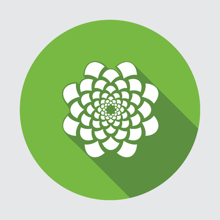 Flower icon. Dahlia, aster, daisy, chrysanthemum, gowan. Summer, autumn floral symbol. Round green flat sign with long shadow. Vector isolated. Illustration