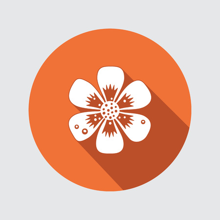 used: Primula flower icons. Spring flowers. Floral symbol. Round flat icon with long shadow. May be used in cuisine. Vector isolated.