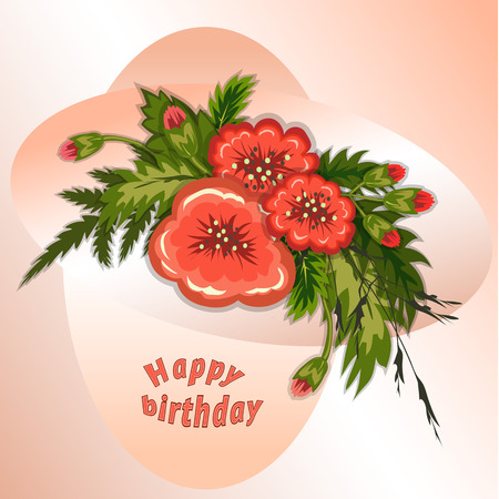 Floral composition. Bouquet of red flowers on soft rose, cream background. Happy birthday pattern for woman. Greeting card. Vector illustration