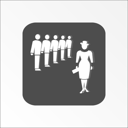 shadow people: Group of people icon. Office, meeting, management symbol. White silhouette on gray rounded rectangular sign with shadow. Vector illustration