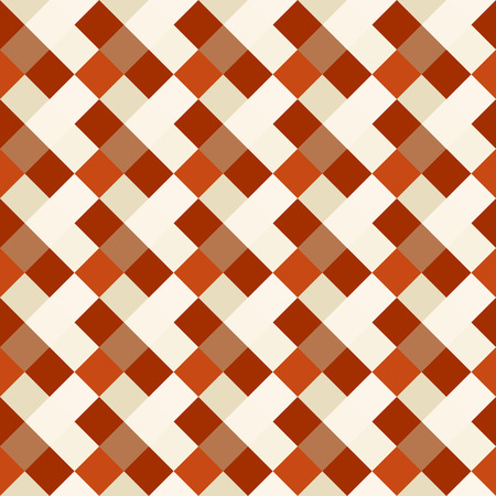 braiding: Seamless geometric checked pattern. Diagonal square, braiding, woven line background. Patchwork, rhombus, staggered texture. Orange, beige, brown colors. Winter theme. Vector