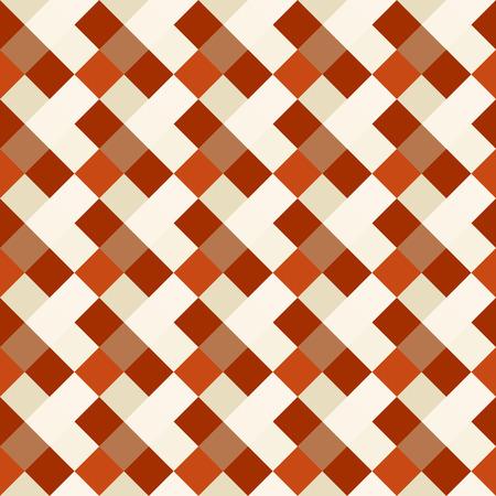 Seamless vérifié géométrique. carré Diagonal, tressage, tissé fond de la ligne. Patchwork, losanges, quinconce texture. Orange, couleurs marron beige. thème d'hiver. Vecteur Vecteurs
