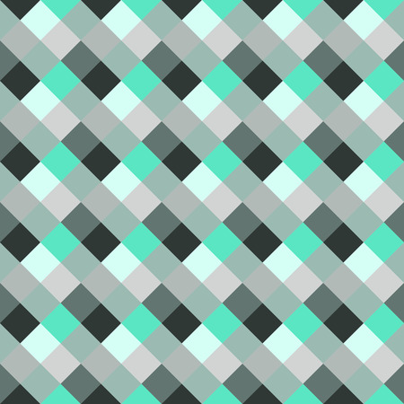 braiding: Seamless geometric checked pattern. Diagonal square, braiding, woven line background. Patchwork, rhombus, staggered texture. Green, gray, white colors. Winter theme. Vector