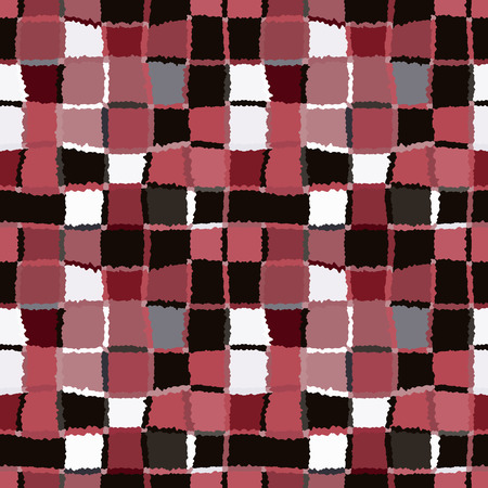 brindled: Seamless geometric mosaic checked pattern. Background of woven rectangles and squares. Patchwork, ceramic, tile texture. Vinous, brown, white colors. Vector