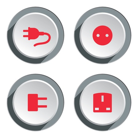 electric socket: Electric socket base icon set. Power energy symbol. Round red circle flat sign on three dimensional button with shadow. Vector