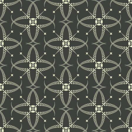 Religion seamless pattern. Laurel wreath, lace view texture with cross. Ceremonial, funeral background. Swirl stylized ornament. Green contrast colored. Vector