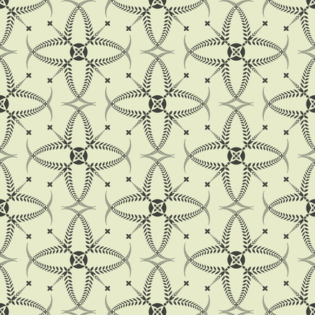 honouring: Religion seamless pattern. Laurel wreath, lace view texture with cross. Ceremonial, funeral background. Swirl stylized ornament. Green contrast colored. Vector