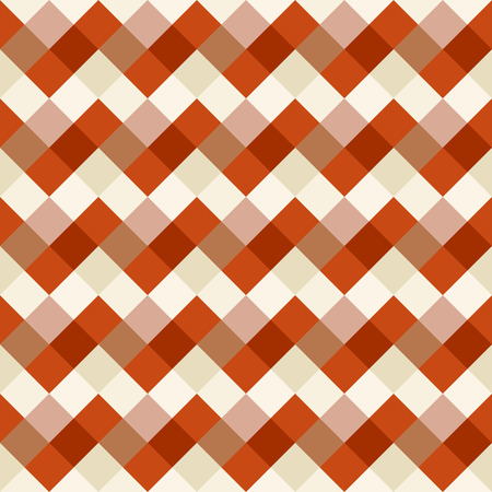 brindled: Seamless geometric checked pattern. Diagonal square, braiding, woven line background. Patchwork, rhombus, staggered texture. Orange, beige, brown colors. Winter theme. Vector
